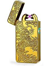 Encendedor ElÉCtrico Fresco con TÓTem De DragÓN, Encendedor A Prueba De Viento Recargable por USB, Encendedor ElectrÓNico De Doble Arco, Grandes Regalos para Hombres