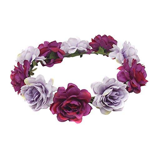 TININNA Frauen Mädchen Blume Bohemia Style Kopfschmuck Haarbänder, Blumenkrone Blumenkranz Blumen Stirnbänder Kopfband Kranz für Hochzeit Abendkleid Braut (Blau + Violett) EINWEG Verpackung