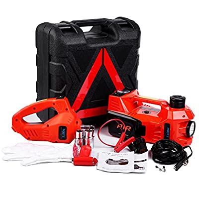 Electric hydraulic jack Set 12v by ROGTZ All-in-one Automatic 3 Ton car Lift Jack Set with Impact Wrench Car Repair Tool Kit