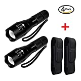 2 Pcs Tactical Flashlight & 2 Pcs Flashlight Holster - 1000lumen Super Bright Flashlights - 5 Modes Zoomable Handheld Flashlight - Waterproof LED Flashlight for Hiking, Camping by LETMY