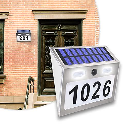 BLLJQ Placa De Puerta con Luz De Número De Casa Solar Led, Interruptor Crepuscular Ip65 Impermeable, Acero Inoxidable, Iluminada para Calle Exterior