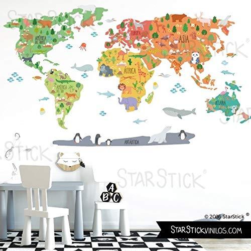 StarStick - Mapa mundi con dibujos de animales - Vinilos decorativos de...