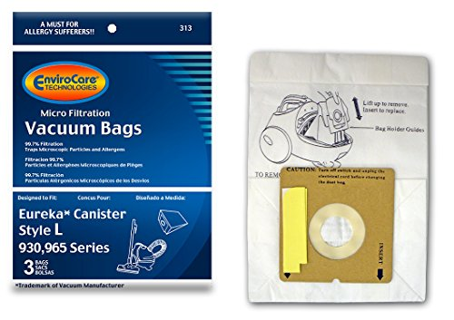 EnviroCare Replacement Micro Filtration Vacuum Bags for Eureka Style L 930, 965 Series 3 Pack