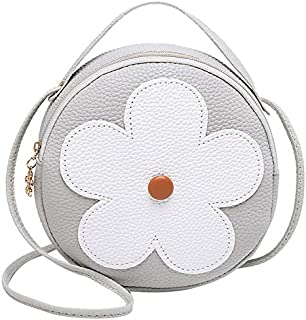 TOOGOO New Fashion Pu Leather Handbag Shoulder Messenger Bag Small Round Bag Ladies Messenger Bag Gray