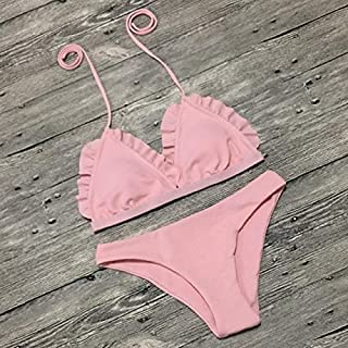 BEESCLOVER Bikini Women Swimsuit Bikini Set Lace Up Retro Beach Bathing Suit Plus Size Swimwear Swim Wear
