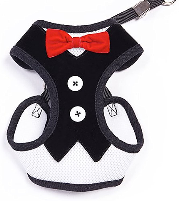 BINGPET Velvet Red Bowtie Gentleman Suit Boy Dog Tuxedo Harness Vest for Dogs with Handle Large