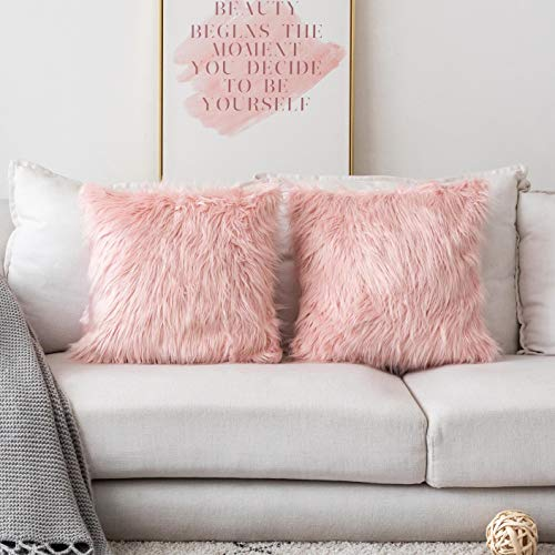 Home Brilliant Decorative Pillow Covers Faux Fur Accent Throw Pillow Cover Cushion Case for Couch, Set of 2 (18 x 18 Inch, Pink)
