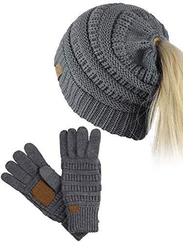 C.C BeanieTail Messy High Bun Cable Knit Beanie and Anti-Slip Touchscreen Gloves Set, Dark Melange Gray