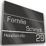 Graviers Design Número de casa de acero inoxidable V2A, 215 x 150 mm, color antracita metálico, inoxidable, resistente a los rayos UV, personalizable, número de calle, fabricado en Alemania
