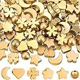 120 Cuentas Espaciadoras de Metal Cuentas en Forma de Estrella Redondez Corazón Luna Trébol de Cuatro Hojas Flor de Ciruelo Cuentas Sueltas Lisas para Manualidades de Joyas de Navidad San Valentín