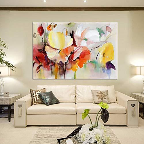 ZXMPGYH Acuarela Moderna Floral Pintura Mural Pintado A Mano