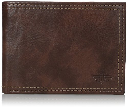 Dockers Men's Leather Bifold Wallet - RFID Blocking Classic Single Fold with Extra Card Slots and ID Window,Rfid-brown