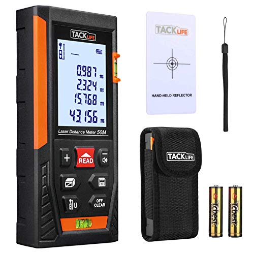 Télémètre Laser 50m, Tacklife Metre Laser, Ecart 1.5mm, Calcule Distance Surface Volume, Fonction...