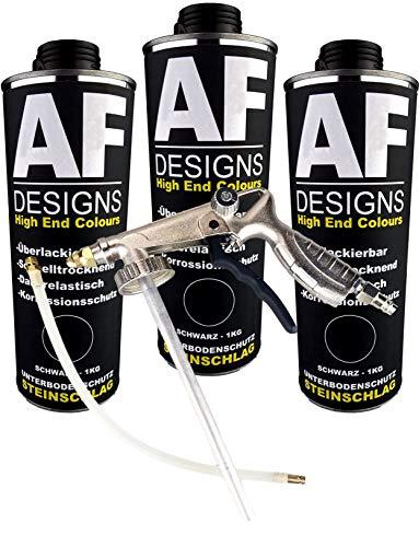 Alex Flittner Designs Steinschlagschutz/Unterbodenschutz schwarz 3x1kg überlackierbar + Unterbodenschutz Pistole Hohlraumpistole | Rostschutzpistole | Spritzpistole
