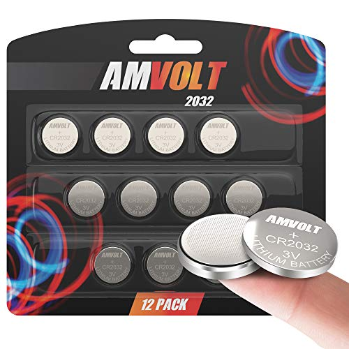 12 Pack AmVolt CR2032 Battery 220mAh 3 Volt Lithium Battery Coin Button Cell 2025 Expiry Date