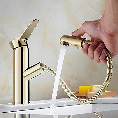 ottonato, rubinetto bagno con doccetta estraibile, rubinetto bagno lavabo, miscelatore lavabo bagno, rubinetti bagno lavabo, pomello, rubinetto miscelatore acqua calda, estensibile - oro_