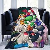 ZUICHU-MZ Yoshi Super Mario Series Princess Peach Wario Birdo Cute Anime Figure Poster Cheap Anti-Pilling Fleece Blanket Set Quilt Bed and Sofa Beddings for Teens Men Women Size 80'x60' inch