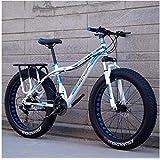 Volwassen Fat Tire Bike dubbele schijfrem mountainbike rigide berg, vrouw in de voorkant van de fiets full suspension fiets ATV op de vloer voor mannen vrouwen,White D,24 Inch 21 Speed