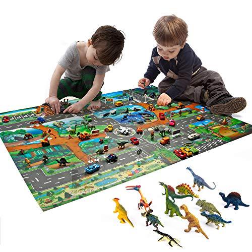 GLCS GLAUCUS Alfombra de Juguete Dinosaurios Tapete de Juego 100 * 130cm PVC Impermeable Alfombra de Plástico para Niños, con 12 Dinosaurios