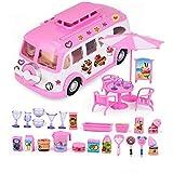 Convertible Picnic Car Picnic Bus Cute Dollhouse Miniatures Niños Juguetes Chica Cumpleaños Mejores Regalos