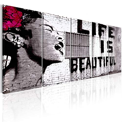 murando - Cuadro acústico Banksy Life is Beautiful 225x90 cm - decoración de Pared - Lienzo de Tejido no Tejido - 5 Piezas - Cuadros XXL - Panel de Pared - Silencio i-C-0114-b-m