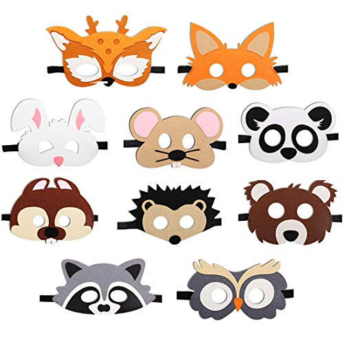 JAHEMU Tiermasken Filz Masken Kindermasken Halloween Maske Partymasken Weihnachten Geburtstag Geschenke für Kinder