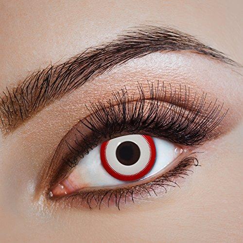 aricona Kontaktlinsen - Weiße Kontaktlinsen Farblinsen mit rotem Rand ohne Stärke - Farbige Kontaktlinsen weiß für Halloween, Karneval, Fasching, Cosplay, 2 Stück Bone Saw