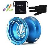 Origine MAGICYOYO N12 Shark Honor Yo-yos Ball, professionnels aluminium en alliage de Yoyo Balls avec Gants + 5 Cordes, cadeaux jouet pour enfants Garçon Fille (bleu et blanc)