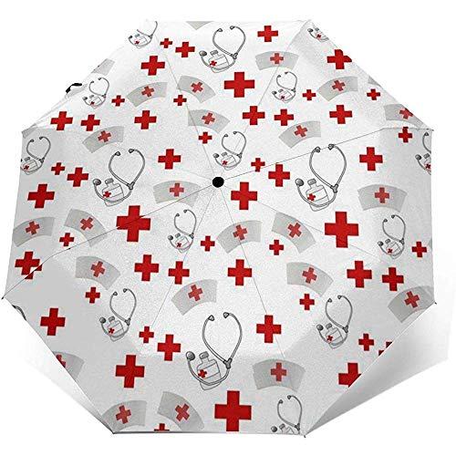Paraguas de viaje cruzado de enfermería Paraguas de sol-Paraguas protector solar ligero a prueba de viento-Botón de apertura y cierre automático
