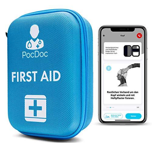 PocDoc Outdoor - Intelligentes Erste Hilfe Set nach DIN 13167 mit APP (Menschen & Tiere)- Reisen, Sport & Motorrad + Pinzetten & Wundreinigungstücher