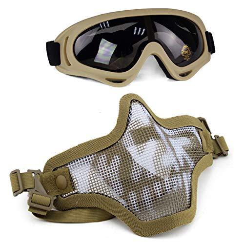 Aoutacc Juego de máscaras y Gafas Airsoft, máscara de Malla de Acero Completa de Media Cara y Gafas para CS/Caza/Paintball/Disparos (Tan Skull)