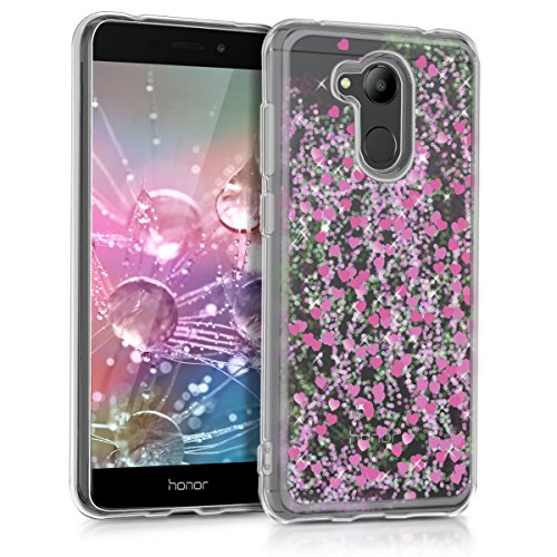 kwmobile Hülle kompatibel mit Huawei Honor 6C Pro - Handyhülle - Handy Hülle Schneekugel Herzen Pink Transparent