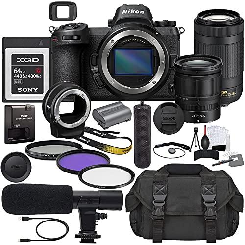 Nikon Z6 Mirrorless Digital Camera with 24-70mm Lens (1598) & AF-P 70-300mm Lens Bundle + Prime Accessory Kit Including...