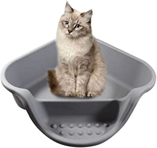 Tiancay Fat Cat Dedicated Litter Large Open Toilet Pet Supplies Large Space Cat Litter Tub (Color : Gray)