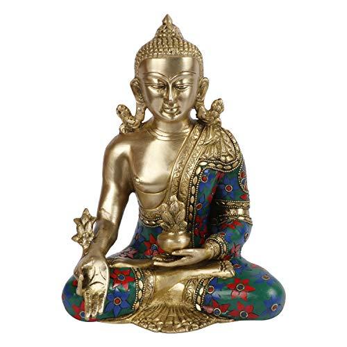 Kartique Brass Medicine Buddha Statue Sculpture Idol for Home Decor Vastu Feng Shui Religious Gift Good Luck Idol Table Showpiece Multicolor Stone Work Height 9.5 Inch