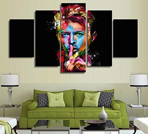 JSBVM Impresiones en Lienzo Cuadro de Arte de Pared 5 Paneles David Bowie Singer Songwriter Amazing Póster Giclee Ilustraciones Cuadro Pinturas para Sala de Estar,30×50×2+30×70×2+30×80×1