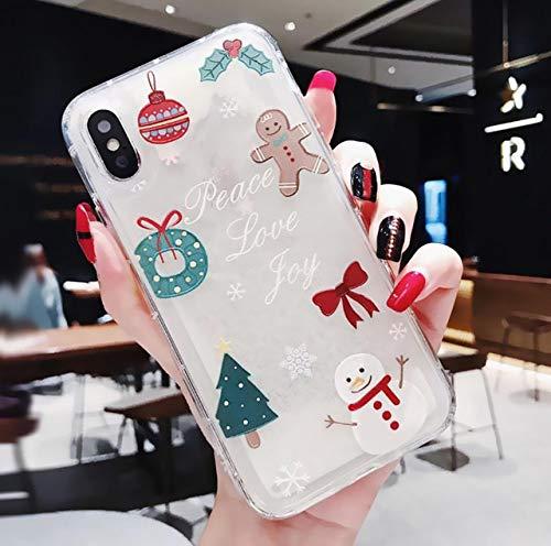 Glitter Dynamic Liquid Phone Case Regalo de año Nuevo para niñas de Moda para iPhone 11 Pro 6 7 8 Plus X XR XS MAX Christmas Quicksand Cover, Quicksand 5, para iPhone XS MAX