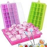 CAVN Silikon Eiswürfelform [3-Stück], 72-Fach Eiswuerfel Form Mit Deckel & Clip Ice Tray Ice Cube, BPA-frei, Eiswuerfelbehaelter Eiswürfelschale für babynahrung, Party und Bars