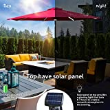 KOOLWOOM 9ft Solar LED Lighted Patio Umbrella with Crank and Manual Tilt,Outdoor Umbrella with Fade Resistant Water Proof Fabric and Push Button,Without Base (Red)