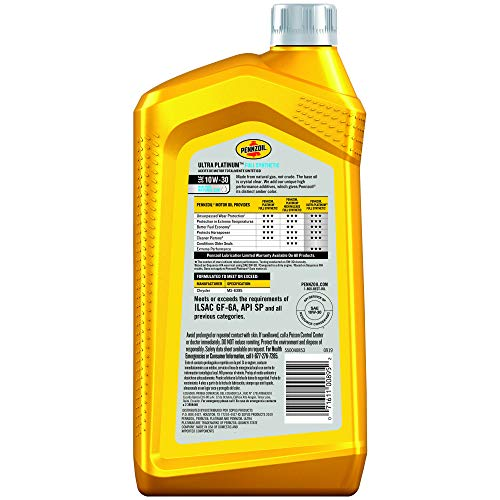 Pennzoil Ultra Platinum Full Synthetic 10W-30 Motor Oil (1-Quart, Case of 6) (550040853-6PK)