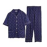 STJDM Bata de Noche,Conjuntos de Pijama de algodón de Talla Grande para Hombre Pantalones de Manga Corta a Cuadros Sencillos Ropa de Dormir para Pijamas Casuales para Hombre XXXL Azul