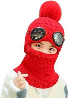 AMHDV Kids Winter Hat,Girls Boys Warm Knit Hat, Earflap Hood Scarf Hat, 5-12 Old (02-red)