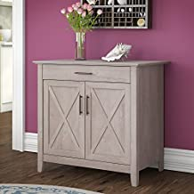 Bush Furniture Key West Secretary Desk with Keyboard Tray and Storage Cabinet in Washed Gray