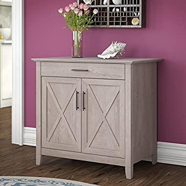 Bush Furniture Key West Laptop Storage Desk Credenza in Washed Gray