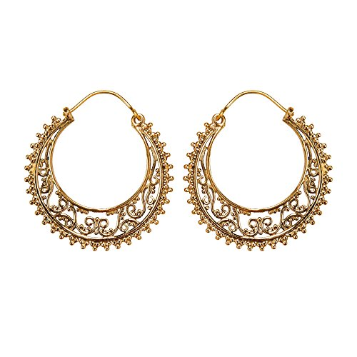 81stgeneration Frauen Gold Messing 35 mm Stammes Filigran Indisch Creolen Ohrringe