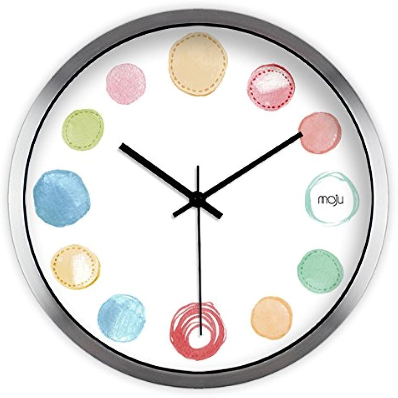 ventas de salida GZLIUXM Reloj De Parojo Arte Creativo Moderno Moderno Moderno Simple Personalidad Color Punto Salón Dormitorio Mudo Grande Reloj De Parojo Reloj De Cuarzo Metal Plata Marco Cepillado 10 Pulgadas  mejor precio