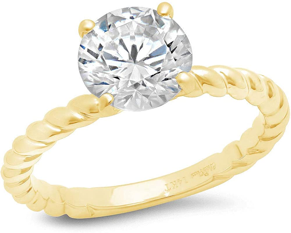 14k Yellow Gold 1.97cttw Classic Round Cut Solitaire Rope Twisted Knot Moissanite Engagement Promise Ring Statement Anniversary Bridal Wedding by Clara Pucci