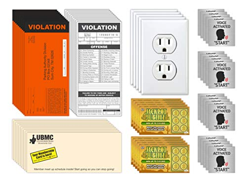 Prank Gag Practical Joke Set Kit for Adults, Fake Parking & Lottery Tickets, Outlet Sticker Decals,...