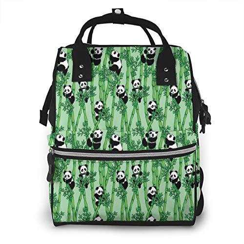 Mochila de pañales de bambú Panda para bebé, multifuncional, impermeable, mochila de viaje, con cambiador y correas para cochecito y chupete