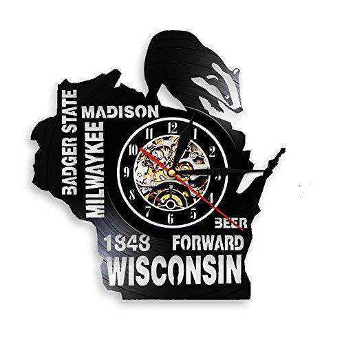 WJHXYD Adoro Il Nostalgico Dell'Orologio da Parete della Decorazione della Parete della Birra di Stato del Wisconsin